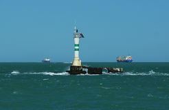 View of a beacon in the high sea Stock Photo