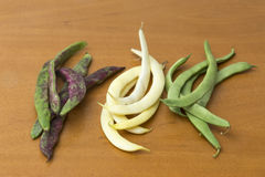 View of bean pods of different types and colors Stock Photo