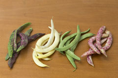 View of bean pods of different types and colors Stock Photos