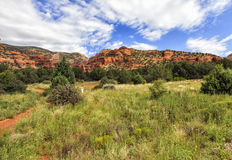 View of Bear Mountain Trail - Oski Approach in Sedona, Arizona, USA. Starting point of Bear Mountain Trail - Oski Approach at Boynton Road area in Sedona and Red stock photo