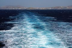 View of the beautiful Aegean sea that you can admire by jumping with the ferryboat from one island to another in the Cyclades. Greece stock photo