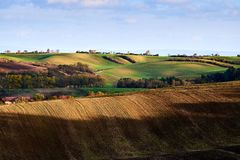 View of beautiful agicultural fields and autumn trees.South Moravia, Czech Republic.  stock image