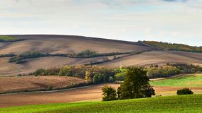 View of beautiful agicultural fields and autumn trees.South Moravia, Czech Republic.  royalty free stock image