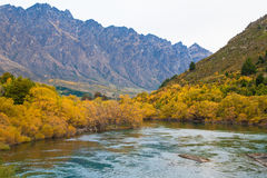 View of beautiful autumn leaves lake and The Remarkables mountain , Queenstown,  New Zealand Royalty Free Stock Photography