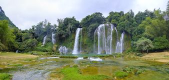 Ban Gioc Waterfall in Vietnam. View of the beautiful Ban Gioc Waterfall on the border of Vietnam and China Stock Photos