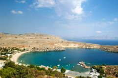 View of the beautiful Bay of Lindos, Rhodes. View of the beautiful Bay of Lindos, Rhodes, Greece stock image