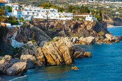 View of beautiful beach in Nerja, Andalusia, Spain stock image