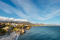 View of beautiful beach in Nerja, Andalusia, Spain stock images