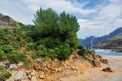 View of beautiful beach and sea bay in Cala San Vicente, Mallorca royalty free stock photo