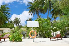 View of beautiful beach. At tropical resort royalty free stock photography