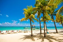 Beautiful exotic beach in Trou aux Biches, Mauritius stock photos