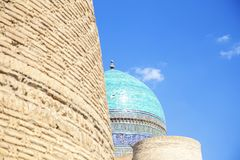 View of the beautiful blue dome of The Mosque Kalyan. One of the oldest and largest Mosque in Central Asia. Main cathedral mosque. Of Bukhara, Uzbekistan royalty free stock photo
