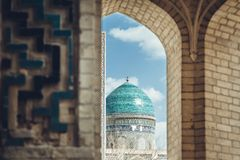 View of the beautiful blue dome of The Mosque Kalyan. One of the oldest and largest Mosque in Central Asia. Main cathedral mosque. Of Bukhara, Uzbekistan stock photos