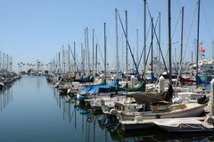 View of beautiful boats on the water in California stock photography