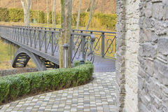 View of the beautiful bridge over the lake Royalty Free Stock Photo