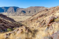 View of beautiful Brukkaros mountain and crater, an impressive landscape near Keetmanshoop, Namibia, Southern Africa.  Stock Images