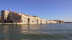 View on beautiful buildings and Grand canal from water taxi, transport, Venice. Stock footage stock video