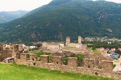 View of beautiful city of Bellinzona in Switzerland with Castelgrande castle from Montebello. View of beautiful ancient city of Bellinzona in Switzerland with Stock Image