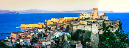 View of beautiful coastal town Gaeta with Aragonese castle over Royalty Free Stock Photography