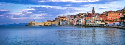 View of beautiful coastal town Gaeta . Landmarks of Italy, Lazio royalty free stock photo