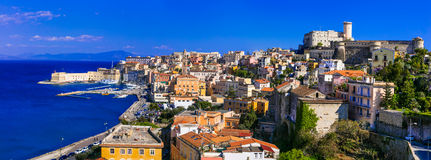 View of beautiful coastal town Gaeta. Landmarks of Italy, Lazio Royalty Free Stock Photos