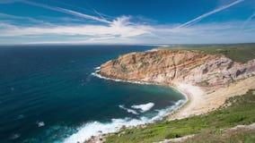 View of the beautiful coastline near Cape Espichel stock footage
