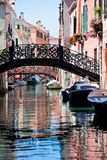 View of beautiful colored venice canal. With bridges Stock Photo