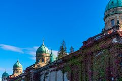 View of the beautiful cupolas and walls of the Mirogoj Cemetery in Zagreb, Croatia stock photos