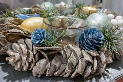 View of the beautiful decorative wreaths with candlesticks royalty free stock images