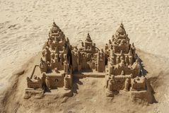 Sand castle on the beach. View of a beautiful and elaborate sand castle on a beach in Galicia stock photo