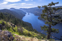 A view of a beautiful fiord, British Columbia, Canada. A hiking trail at Gowlland-Tod Provincial Park, Victoria, British Columbia, Canada Stock Image