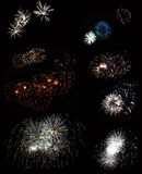 A view of the beautiful fireworks Stock Images