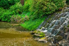View of beautiful garden with artificial waterfall Stock Images
