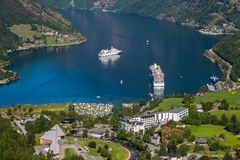 View of beautiful Geiranger, Norway. Royalty Free Stock Image