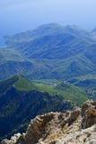 View of a beautiful green mountain range stock photography