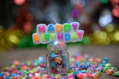 View Beautiful, happy birthday. A beautiful view of the sentence happy birthday royalty free stock photo