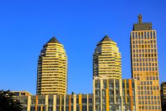 View of the beautiful, high towers and skyscrapers in the center of the Dnipro city. Dnepropetrovsk, Dnepr, Ukraine stock photography