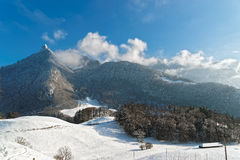 View of the beautiful hills near the castle of Gruyeres Stock Image