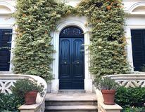 View of a Beautiful House Exterior and Front Door Seen. There are windows on either side of the door, plants on the wall. View of a Beautiful House Exterior and stock images