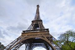 Iconic Eiffel Tower. View of the beautiful iconic Eiffel tower in Paris, France Stock Photos