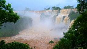 View of beautiful Iguazu Falls at Brazil Border. In rainy season stock video