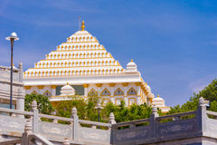 View of the beautiful Indian building, Puttaparthi, Andhra Pradesh, India. Copy space for text. View of the beautiful Indian building, Puttaparthi, Andhra Stock Photo