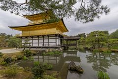 View of the beautiful Kinkaku-ji Temple, also known as the Golden Pavilion, Kyoto, Japan stock photo
