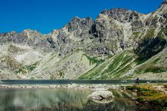 View of beautiful lake in the summer mountains stock image