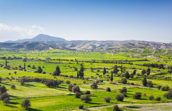 View of beautiful landscape with fresh green meadows and snow-capped mountain tops in the background on a sunny day with Royalty Free Stock Images