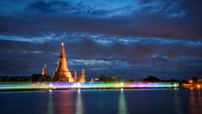 Beautiful light at night of Wat Arun in Bangkok, Thailand. View of a beautiful light at night of Wat Arun in Bangkok, Thailand royalty free stock photo