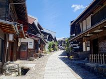 View of the beautiful Magome-juku village on the Nakasendo Road in Japan stock images