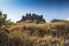 View of the beautiful medieval fortress Amberd in Armenia Stock Image