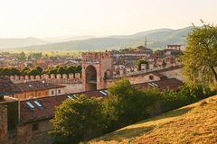View of beautiful medieval town of Soave, Italy from the castle hill royalty free stock image
