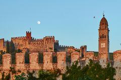 View of beautiful medieval town of Soave, Italy at dusk. View of beautiful medieval town of Soave Royalty Free Stock Photo